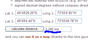 Find Distance Between Two Points On Earth on